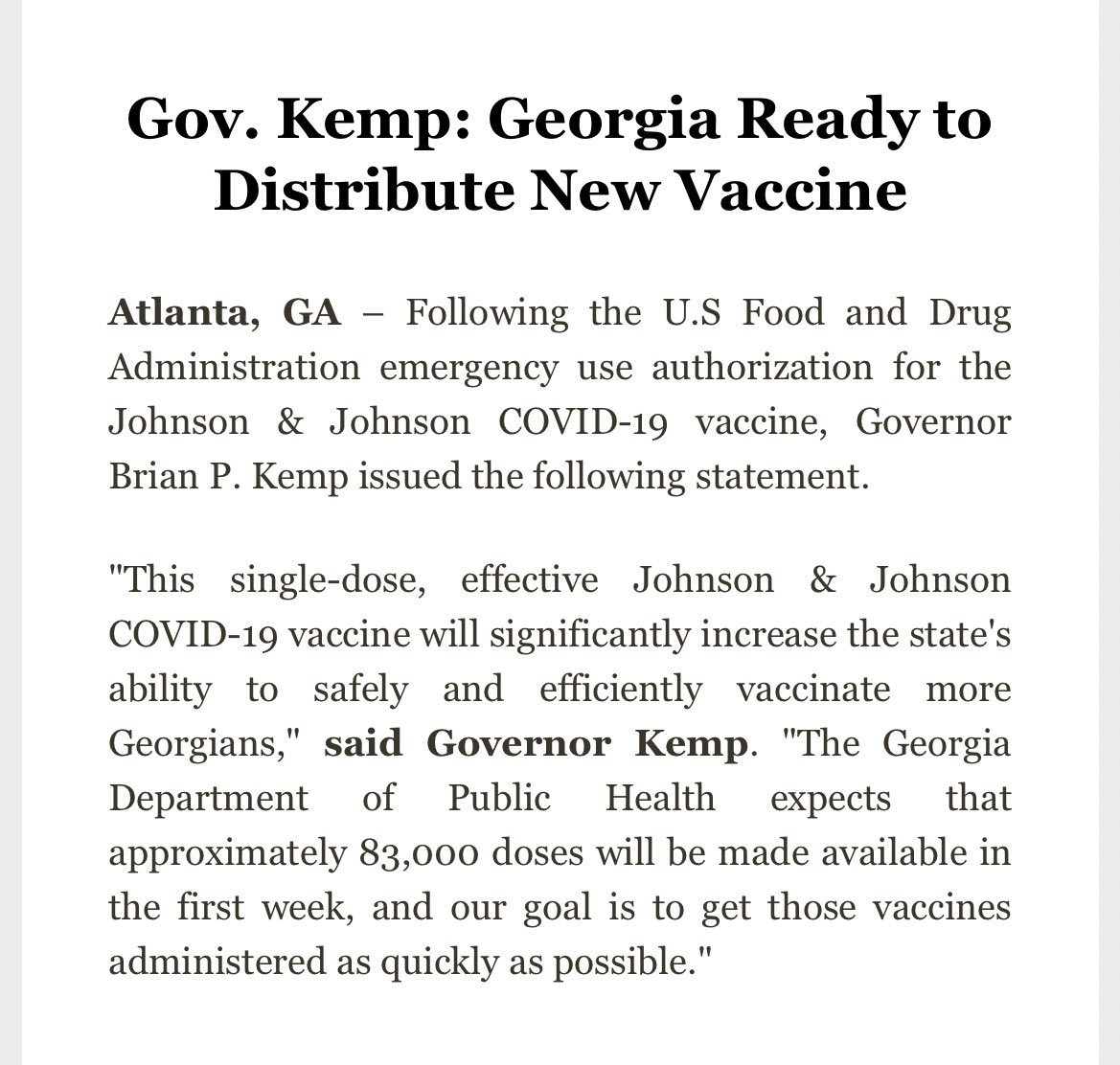 """Georgia = ready  The state is set to receive 83k doses of the J&J vaccine in the first week, and the goal is to administer 'em as """"quickly as possible."""" #gapol"""