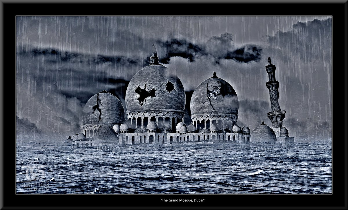 The Grand Mosque, Dubai   There Is No Saving a World Which is Bent on Destroying Itself Grey Cross Studios #art #climatechange #climatechangeisreal #climateaction #ClimateChangeart #extremeweather #climatechangeaction #dystopia