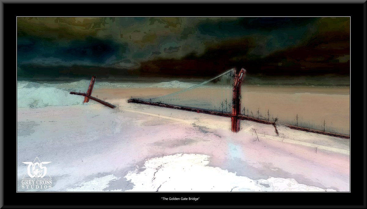 The Golden Gate Bridge, San Francisco   There Is No Saving a World Which is Bent on Destroying Itself Grey Cross Studios #art #climatechange #climatechangeisreal #climateaction #ClimateChangeart #extremeweather #climatechangeaction #dystopia