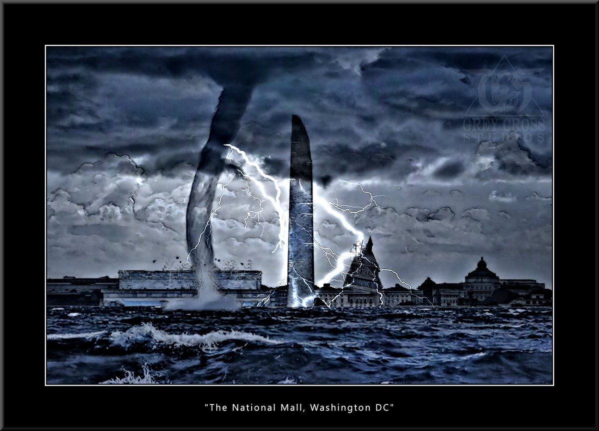 The National Mall, Washington DC   There Is No Saving a World Which is Bent on Destroying Itself Grey Cross Studios #art #climatechange #climatechangeisreal #climateaction #ClimateChangeart #extremeweather #climatechangeaction #dystopia