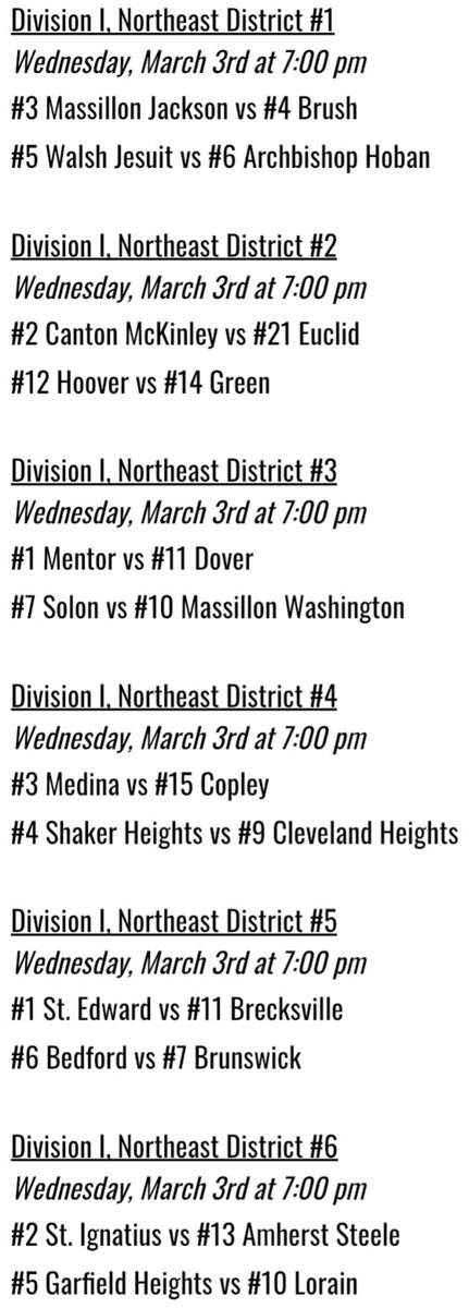 District Semifinals Schedule 🏀   All of next week's district semifinal games are set!   Schedule is subject to change, but games are slated to be played at the home court of the higher seeded team.   Dates and times below. ⬇️