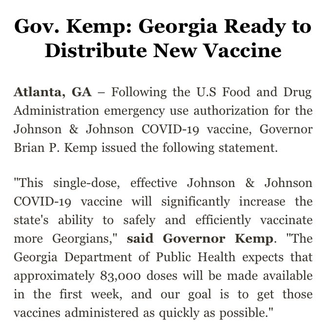 NEW COVID-19 VACCINE IN GEORGIA:  Governor Brian Kemp says the state is ready to distribute the Johnson & Johnson COVID-19 vaccine, which received FDA emergency use authorization today. #gapol #epitwitter   More on the vaccine here: