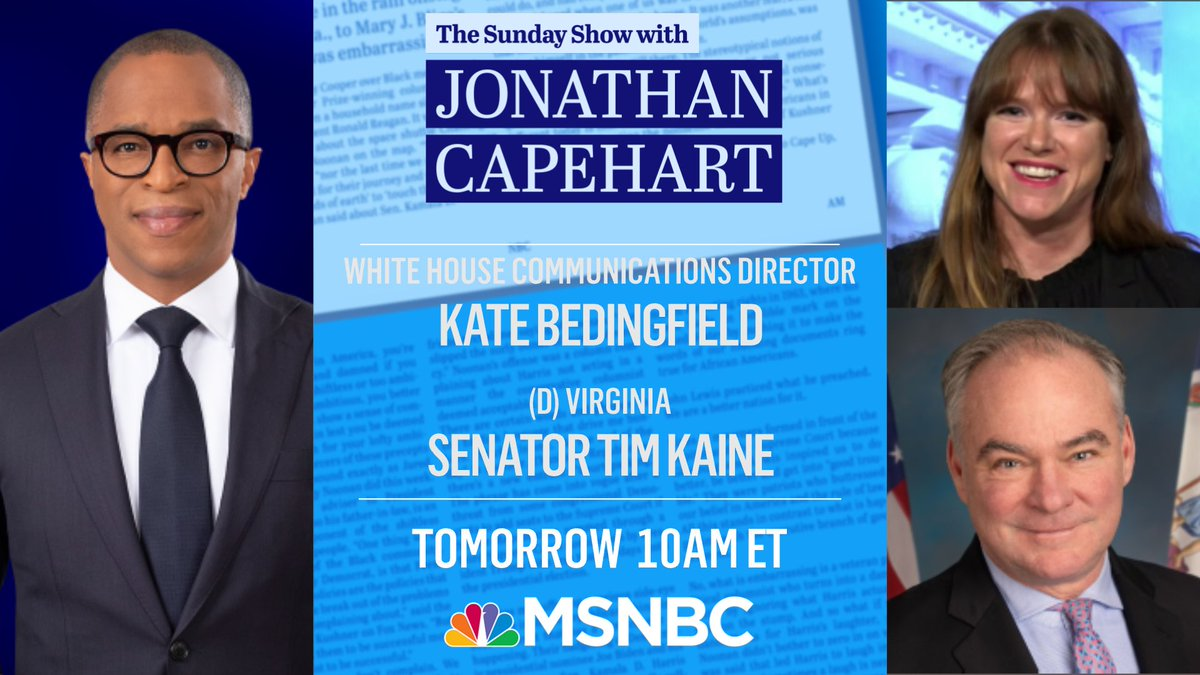 Big @TheSundayShow tomorrow with White House Communications Director @KBeds and Sen. @timkaine!