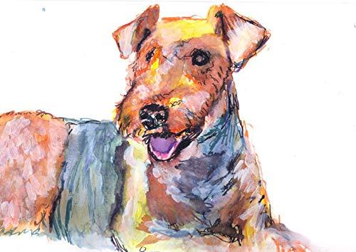 Airedale Terrier Wall Art Print, Colorful Airedale Dog Memorial Art, Nursery Artwork, Dog Owner Gift, Colorful Dog Painting Decor Choice Of Sizes Hand Signed By Pet Portrait Artist Oscar Jetson.  #painting #decor #art