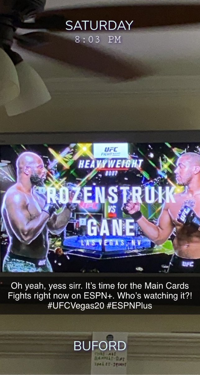 @ufc @espnmma Who's watching the Main Card Fights right now on #ESPNPlus ? #UFCVegas20 https://t.co/owxj6RMy8i