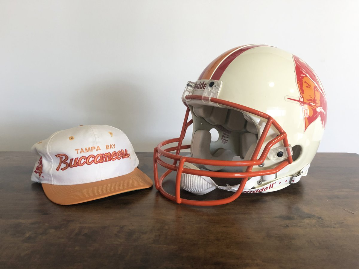 Latest acquisition. Authentic Bucco Bruce era #Bucs helmet #Buccaneers. It will face off with a custom build of my mashup Bucs #Speedflex helmet that should be done in a week or so. Facemask color is tough, I believe I'll need to spray them a tad more yellow... Thanks @webpixum