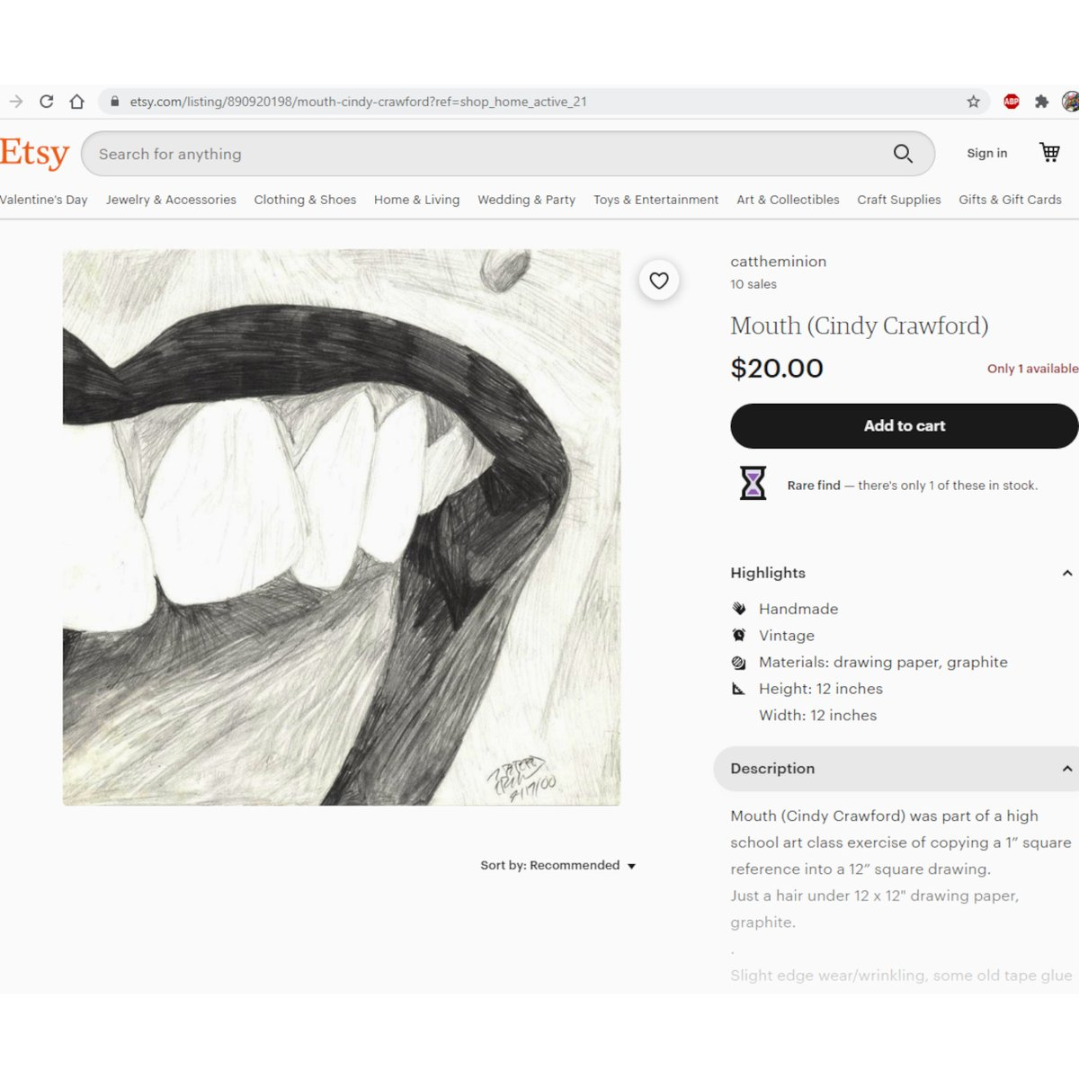 #forsale in my #etsyshop #mouth (#cindycrawford)   10% of profit to #charity! Buy 3+ items, get 17% off w/code 3STAR17! #art #lgbtartists #drawing #graphite #blackandwhite #artsale #arttherapy #celebrity #female #extremecloseup #charitabledonation #etsy