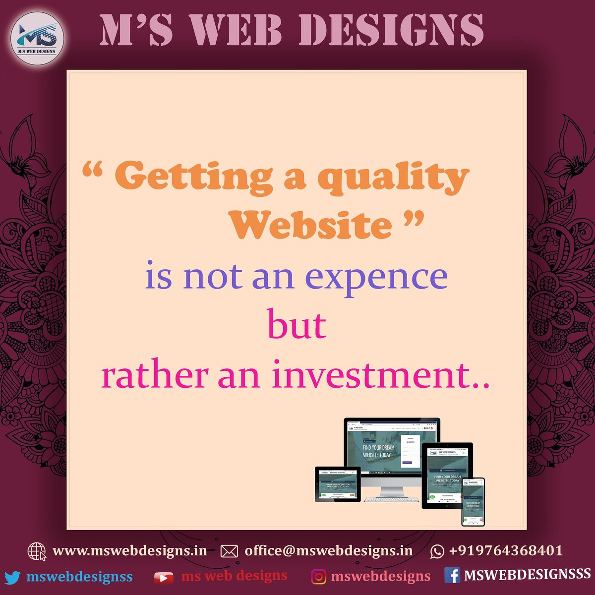"🔷 M'S WebDesigns ""Where Creativity meets Design""  Visit:    #mswebdesigns #webdesigner #webdevelopment #webstagram #webdeveloper #websitedesign  #business #businessowner #graphicdesign #graphicdesigner #digitalmarketing #softwaredeveloper #webdesigntrends"