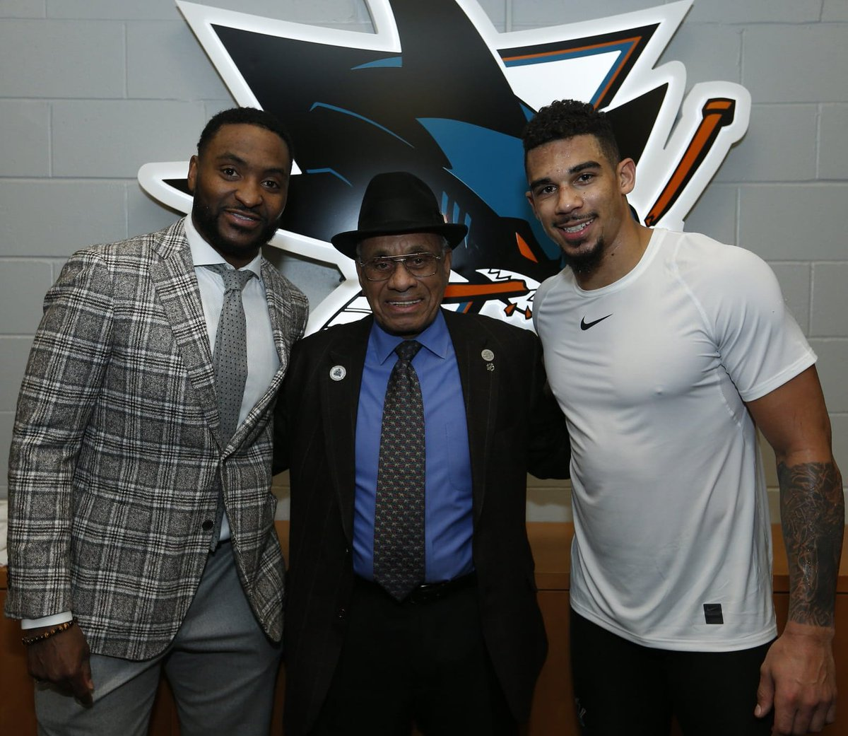 Feb. 27, 2018 - #SJSharks forwards Joel Ward and Evander Kane pose for a photo with NHL pioneer Willie O'Ree following the Sharks' 5-2 win over EDM at the Shark Tank. #BHM   #BlackHistoryMonth   📸 Sharks Twitter