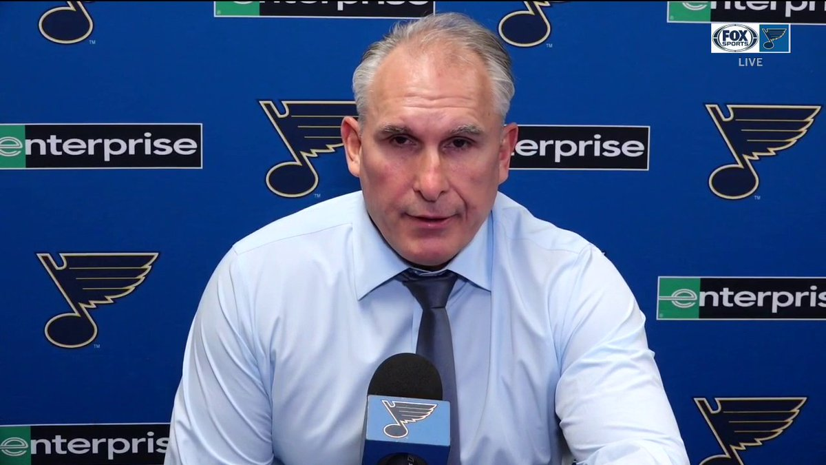 """Craig Berube on the #stlblues' win over the #SJSharks: """"It was obviously a back-and-forth game, lots of goals, but there was no quit in our game, which was good to see."""""""