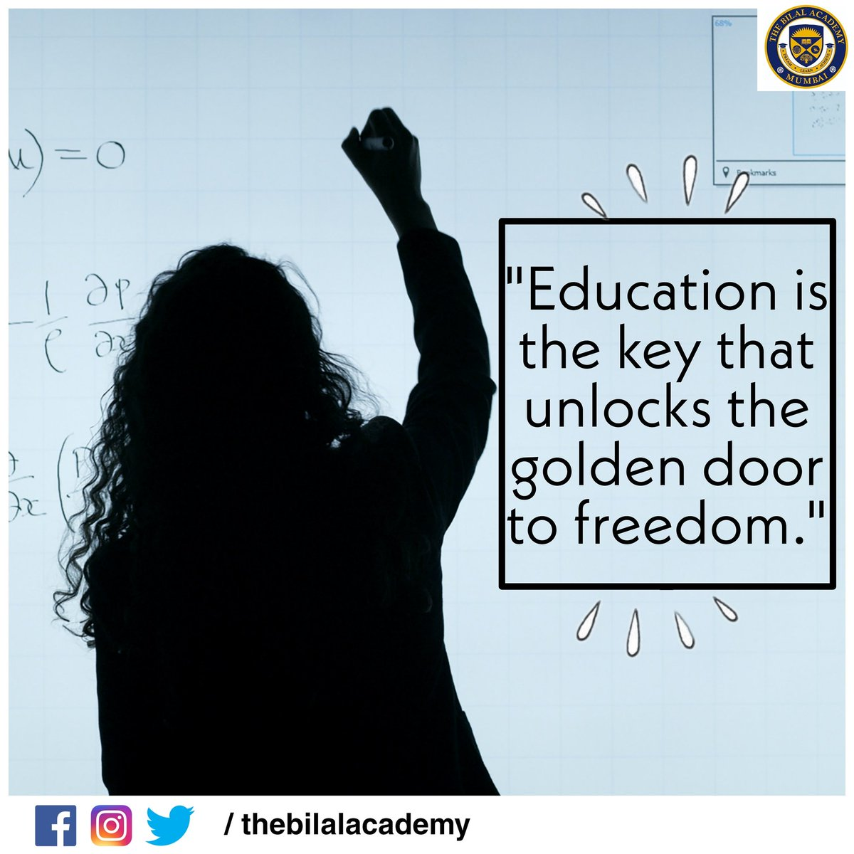 Education is the key that unlocks the golden door to freedom.  #thebilalacademy #education  #educational #educationispower #educationforlife #bandra #bandrawest #mumbai #knowledgeispower  🔺 Follow us on 🔺 👉🏻 #Instagram 👉🏻 #Facebook 👉🏻 #Twitter