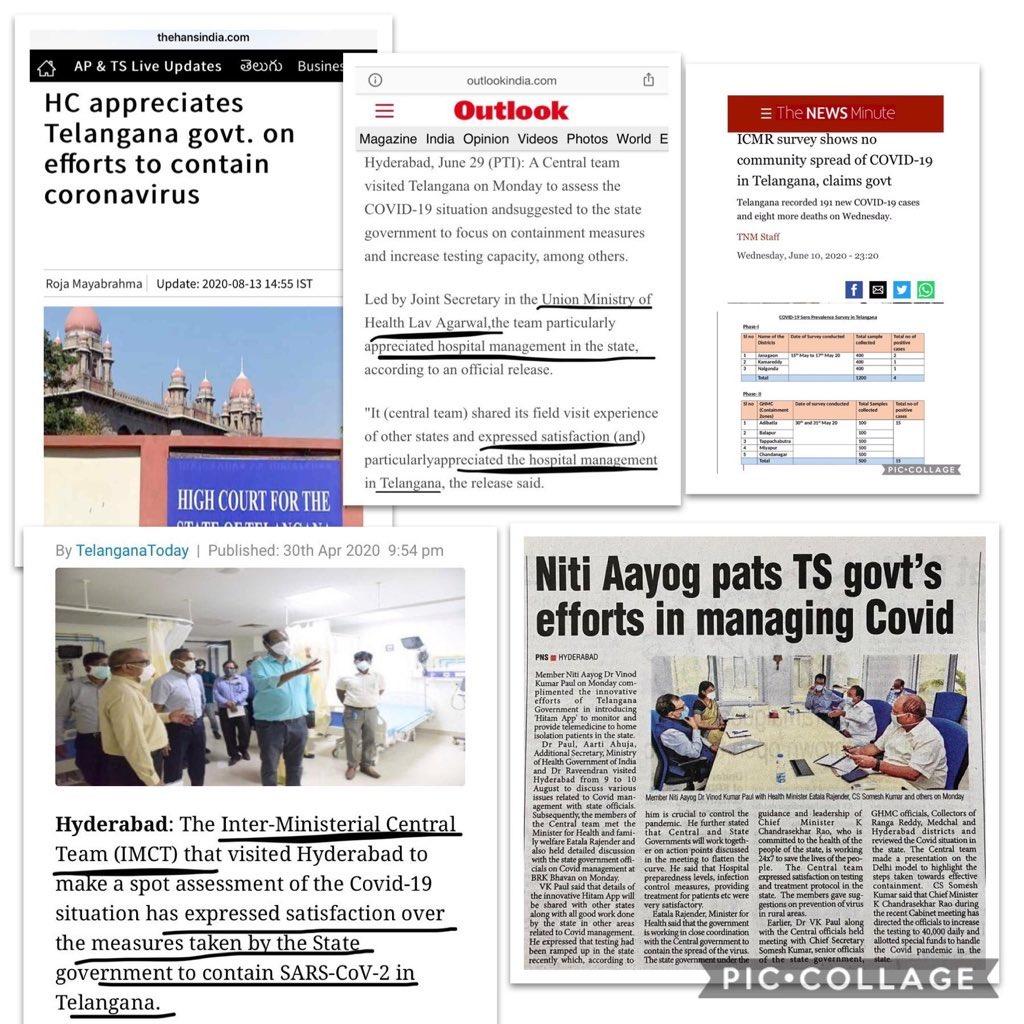 Thank you Hon'ble @DrTamilisaiGuv Garu  The State Govt under the able leadership of CM #KCR Garu & Health Minister @Eatala_Rajender Garu performed well in controlling & managing #Covid   Earlier #IMCT, #MHA, #MoHFW, #ICMR, #NITIAayog & #HighCourt also hailed TS Govt👇 @KTRTRS