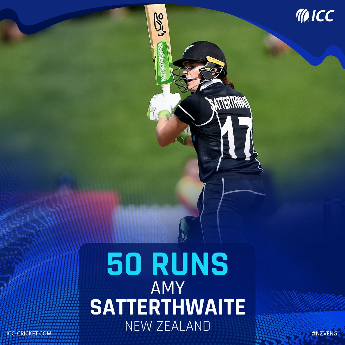 Half-century for Amy Satterthwaite 👏  It's her 23rd fifty in ODIs, and it has put New Zealand on course in their chase of 221.  #NZvENG