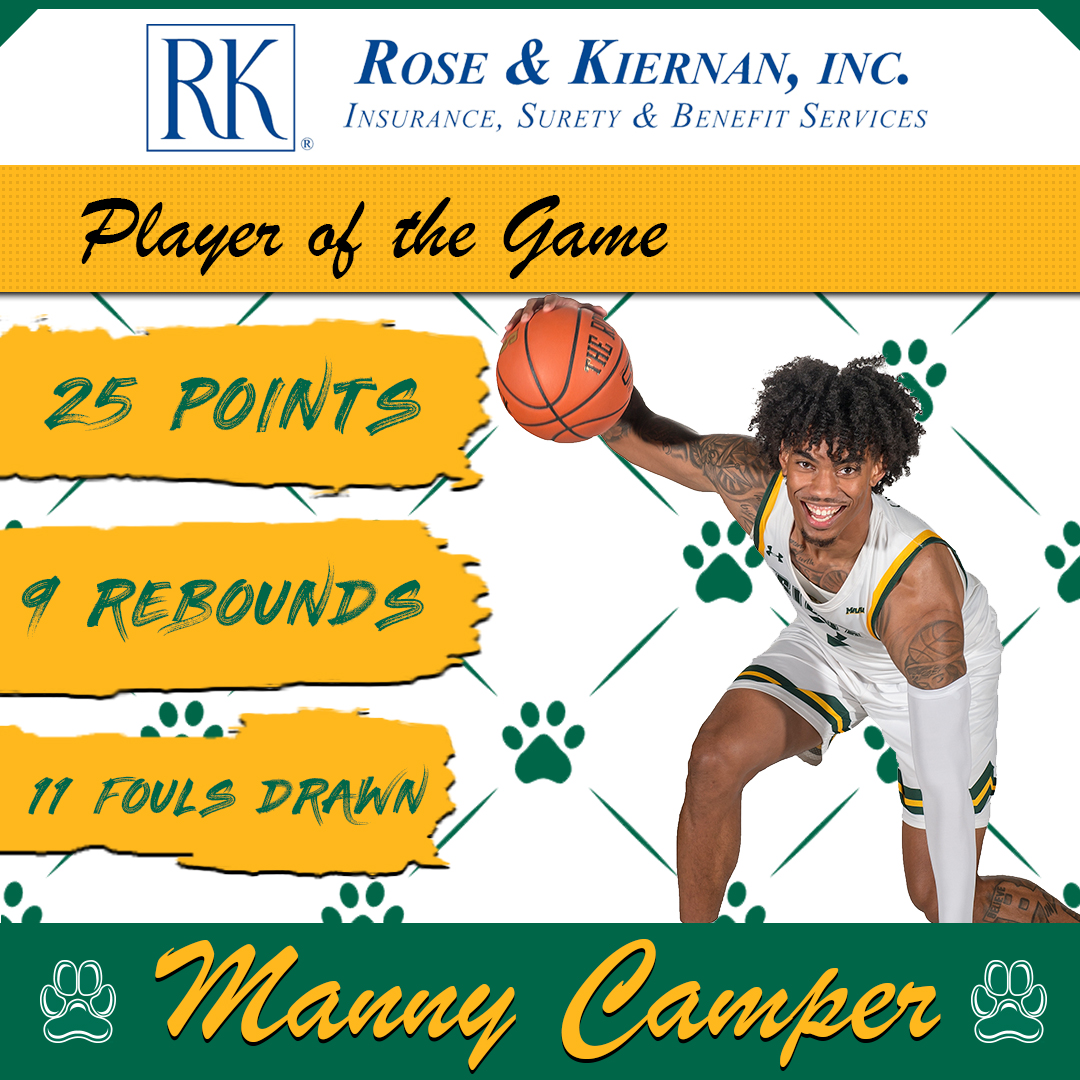 Tonights @RoseAndKiernan #SienaSaints #PlayeroftheGame @_BigshotManny_ scored a career-high 25 points and pulled down 9 rebounds, while also drawing 11 (!) fouls and shooting 12-14 from the charity stripe #MarchOn
