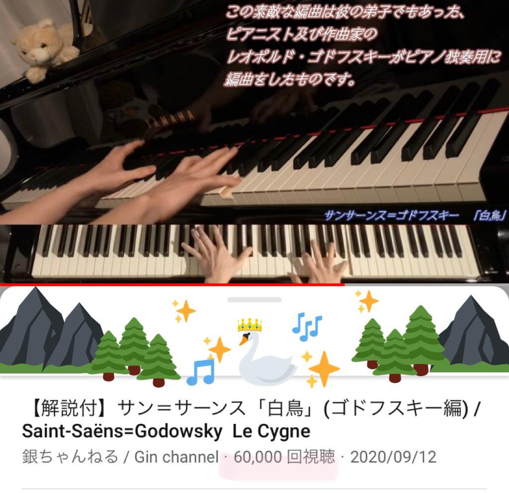 #銀ちゃんねる サン=サーンス「白鳥」(ゴドフスキー編) /Saint-Saëns=Godowsky Le Cygne  ㊗️6万回再生突破おめでとうございまーす☺️🙌🎊  #銀ちゃん #piano #Pianist #YouTube   静寂に美しく煌めく素敵な演奏はこちらから🎶↓