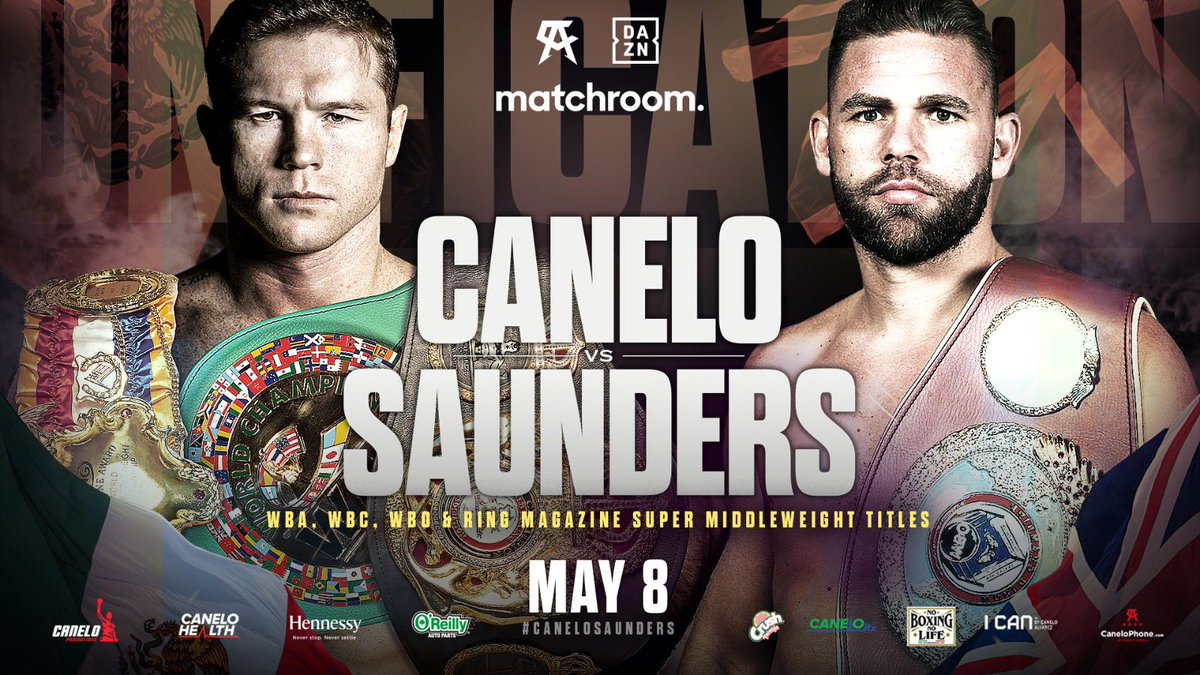 IT'S OFFICIAL!!! The unification is on! @canelo v @bjsaunders_ for the WBC, WBA, WBO and Ring Magazine World championships May 8 live on @daznboxing 🇲🇽 🇬🇧 🔥