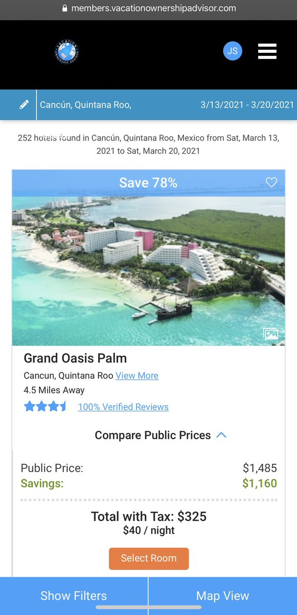 This is an example from our membership platform. March 13 to March 20, 2021. The grand oasis palm in Cancun. The public price on Expedia and travel platforms is $1482   Our members pay $325 including tax. A savings of $1162!   #travel #vacation #cancun #travelnews #travelgram
