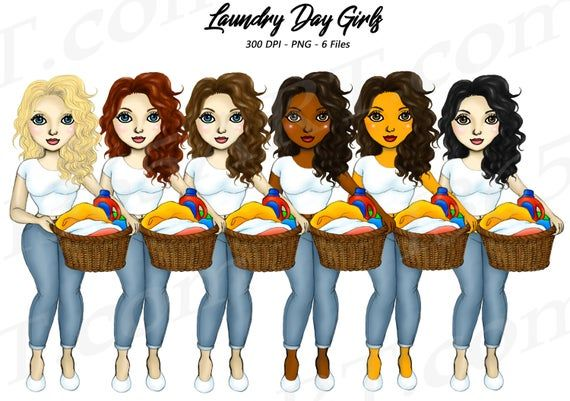 Laundry Day Girls #fashion #illustrations Household Chores #clipart by I365art 🤗  - #PNG #planneraddict #plannerlove #chores