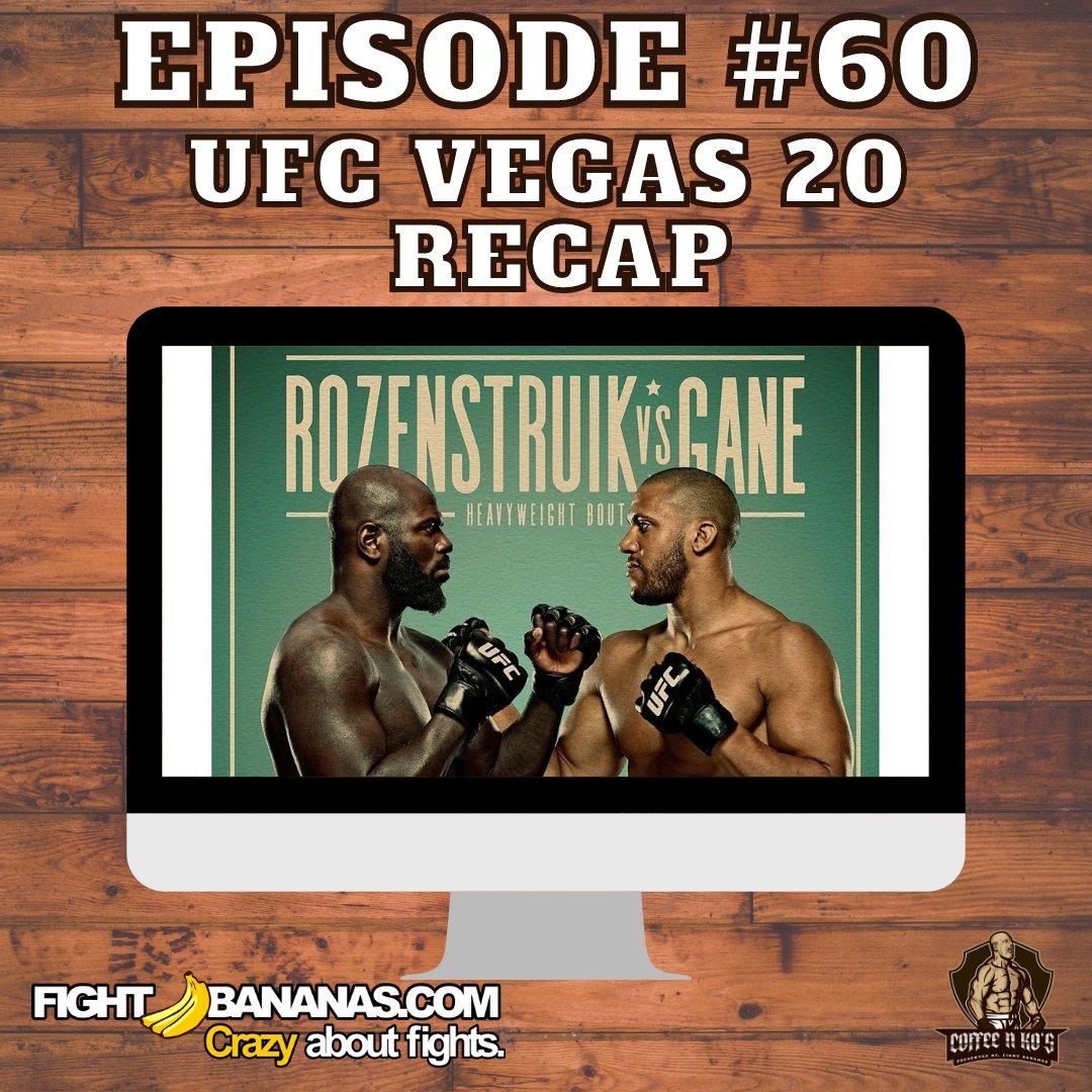 "Listen to ""Coffee N KO's  Episode #60 Gane vs Rozenstruik Recap Show! #UFCVegas20 #MMA #UFC #MMATwitter #Podcast #SponsorshipShoutOut   AVAILABLE ON ALL PODCASTING PLATFORMS! PRESENTED BY @FightBananas  SPONSORED BY: @SheathUnderwear  PROMO: COFFEENKOS 20% OFF ENTIRE PURCHASE"