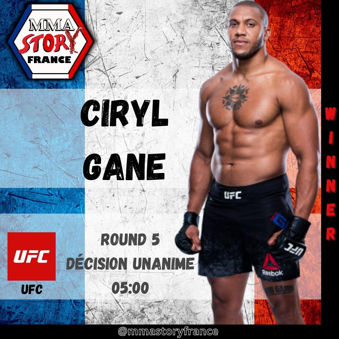 Victoire de CIRYL GANE @ciryl_gane à l'#UFCVegas20 @ufc @mmafactory_fr #mmastoryfrance #FrenchMMA #ufc #mma