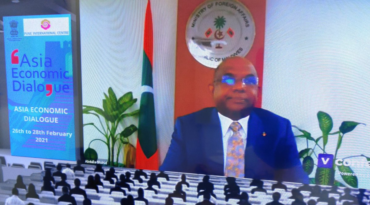 """RT @PuneIntCentre """"India's support for large scale development projects in Maldives has been exemplary,"""" says H.E. Abdulla Shahid, Foreign Minister of Maldives. Former Indian Foreign Secretary in the chair at session on India's International Development Cooperation. AED 2021. @doctorsumitseth"""