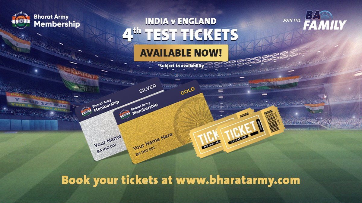 🚨🚨 ATTENTION: The tickets for the 4th Test are live NOW!   Book them today:  😎  #INDvENG  #BharatArmy
