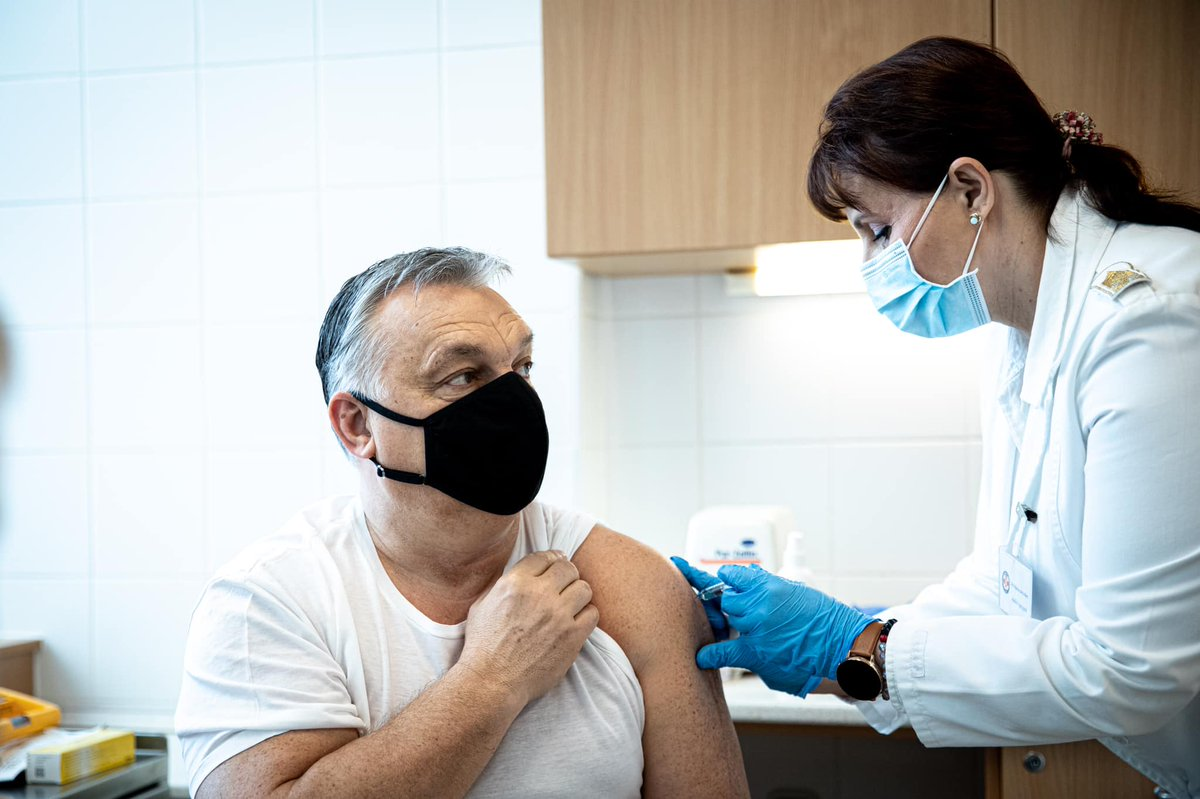 """""""Vaccinated✅"""", Hungarian PM Viktor Orban posted on Facebook:    He received the Chinese Sinopharm jab, one of the non-EMA approved vaccines Hungary started using. Such pr stunts are needed as public trust in Sinopharm & Russia's Sputnik V is extremely low."""