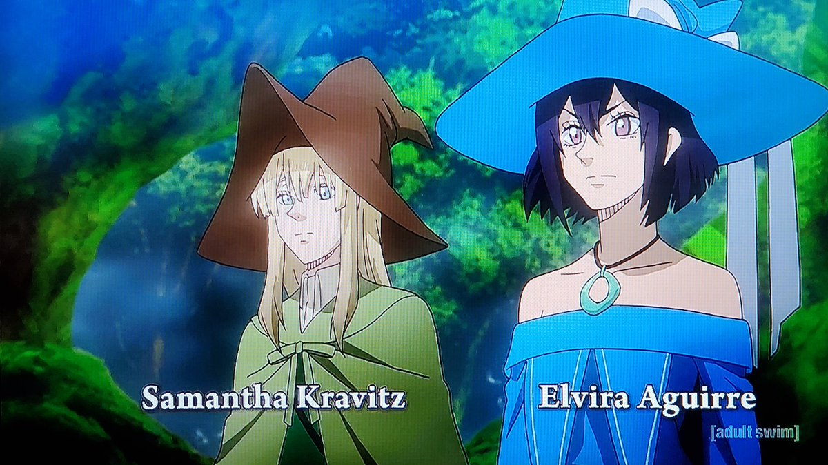 .@MaddieMorrisVA U were badass as Elvira Aguirre from #BlackClover She can generate illusions but stubborn as hell 'til the very end when the witches work together as a team before heading into the Spade Kingdom♠️We're on episode 140 on #Toonami next week