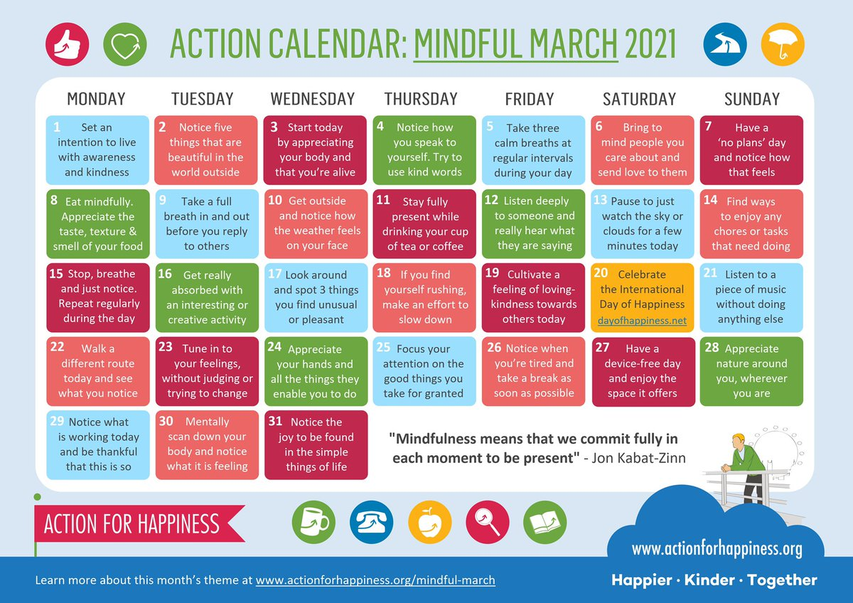 Learning to live mindfully helps us get more out of life and cope better in difficult times 🙏🌈 Join us for #MindfulMarch and find ways to approach each day with awareness and compassion actionforhappiness.org/mindful-march #MindfulMarch