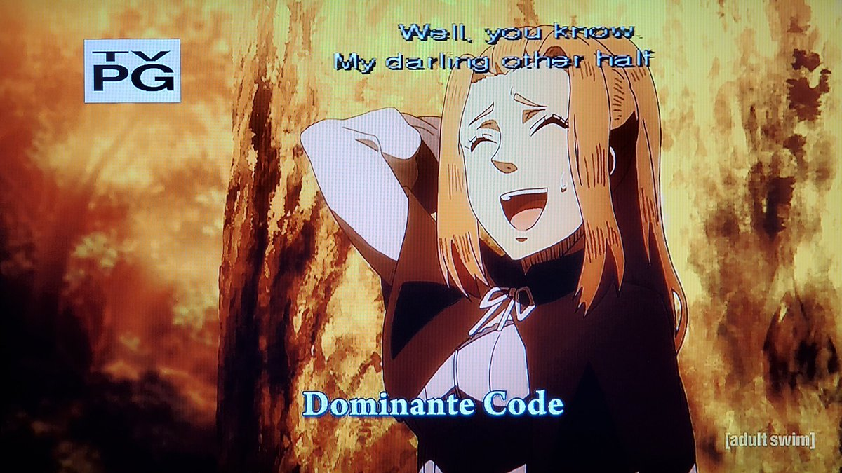 .@KBeeThatsMe Her offers won't last long for the witches sponsored by Dominante Code!💎We better train and geared up harder before heading into the Spade Kingdom at all costs!♠️We're on episode 140 on #Toonami next week #BlackClover
