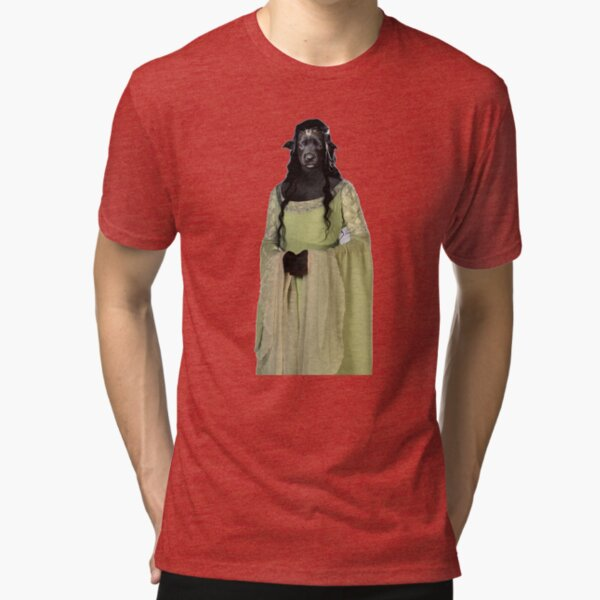 'Renaissance Dog Maiden Oil Painting' Tri-blend T-Shirt   #funny #christmas #cute #cool #animal #valentine #birthday #dog #merrychristmas #xmas #black #elf #humor #gnome #gnomes