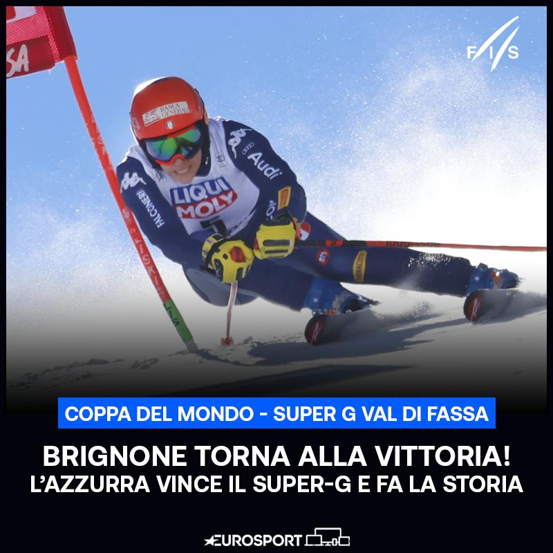 SUPER FEDERICA BRIGNONE! 🔥  L'azzurra vince il Super-G della Val di Fassa e con 16 vittorie totali raggiunge Deborah Compagnoni in vetta alla classifica delle italiane più vincenti in Coppa del Mondo 🏆⛷️🇮🇹  #EurosportSCI | #FISAlpine | #ValdiFassa | #Brignone
