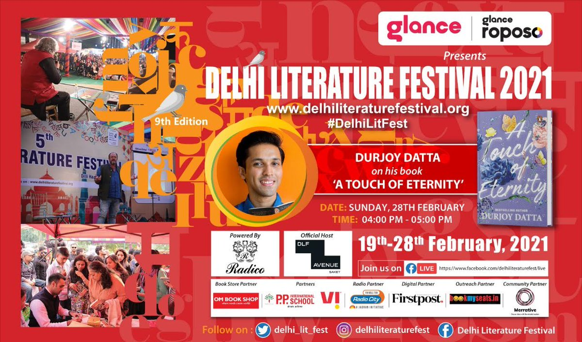 For the #DelhiLitFest,  Closing Day Sessions today, log on to    Please join with family & friends!!!  Facebook Live, login link: ……  #radiocityindia @glancescreen @RoposoLove @durjoydatta @PenguinIndia