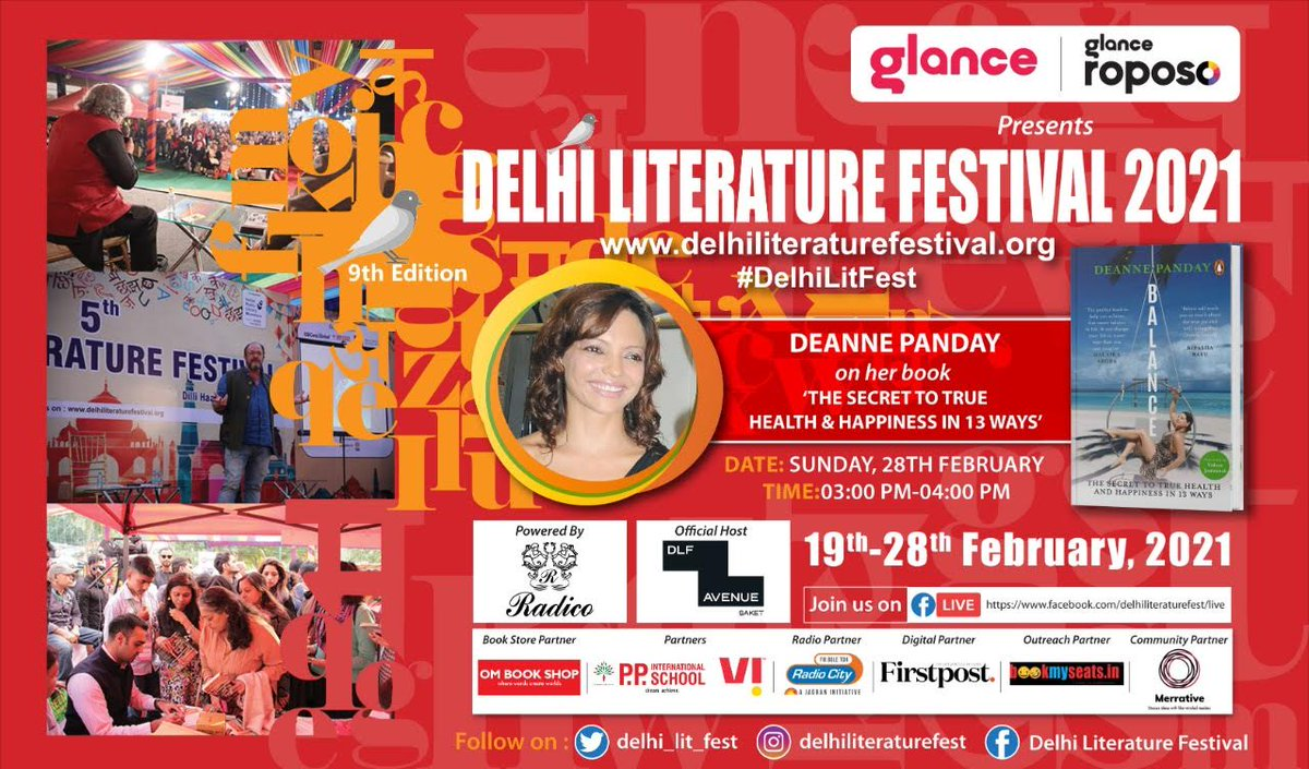 For the #DelhiLitFest,  Closing Day Sessions today, log on to    Please join with family & friends!!!  Facebook Live, login link: …… #radiocityindia @glancescreen @RoposoLove @deannepanday