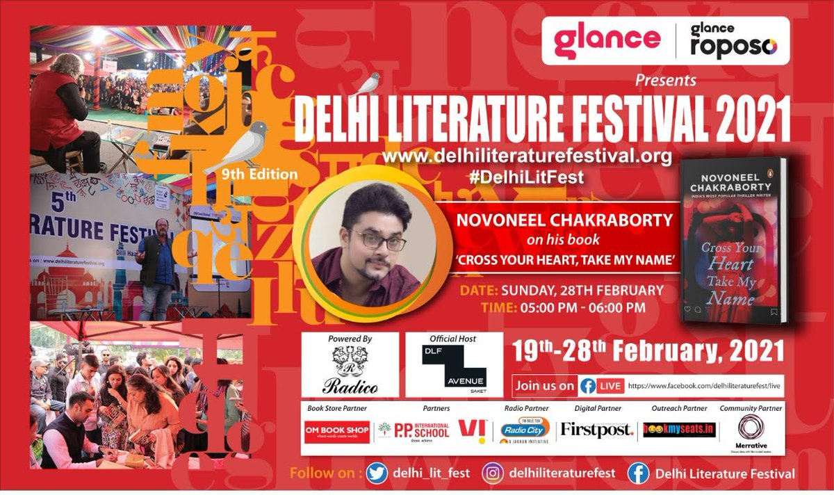 For the #DelhiLitFest,  Closing Day Sessions today, log on to    Please join with family & friends!!!  Facebook Live, login link: ………  #radiocityindia @glancescreen @RoposoLove @novoxeno  @PenguinIndia