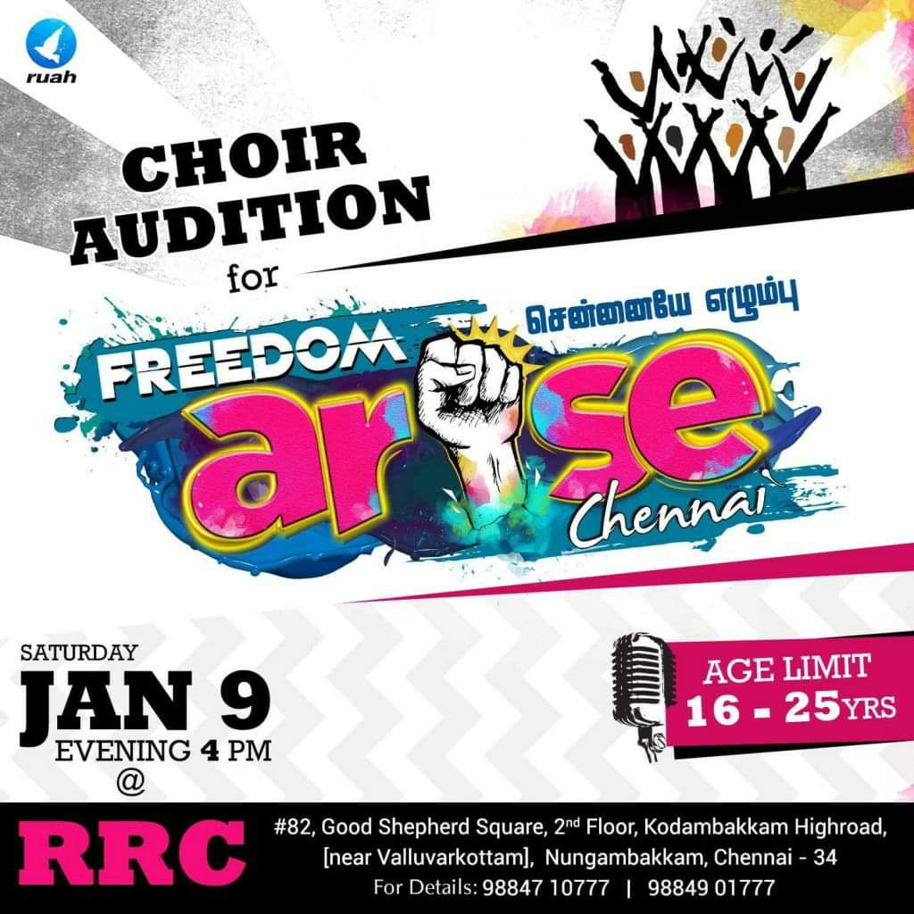 How shall we promote our Freedom Arise choir audition?. What about using a fist in place of the i in arise?. Cool. Wait wont that just say arse with a big fist through the middle of it?.