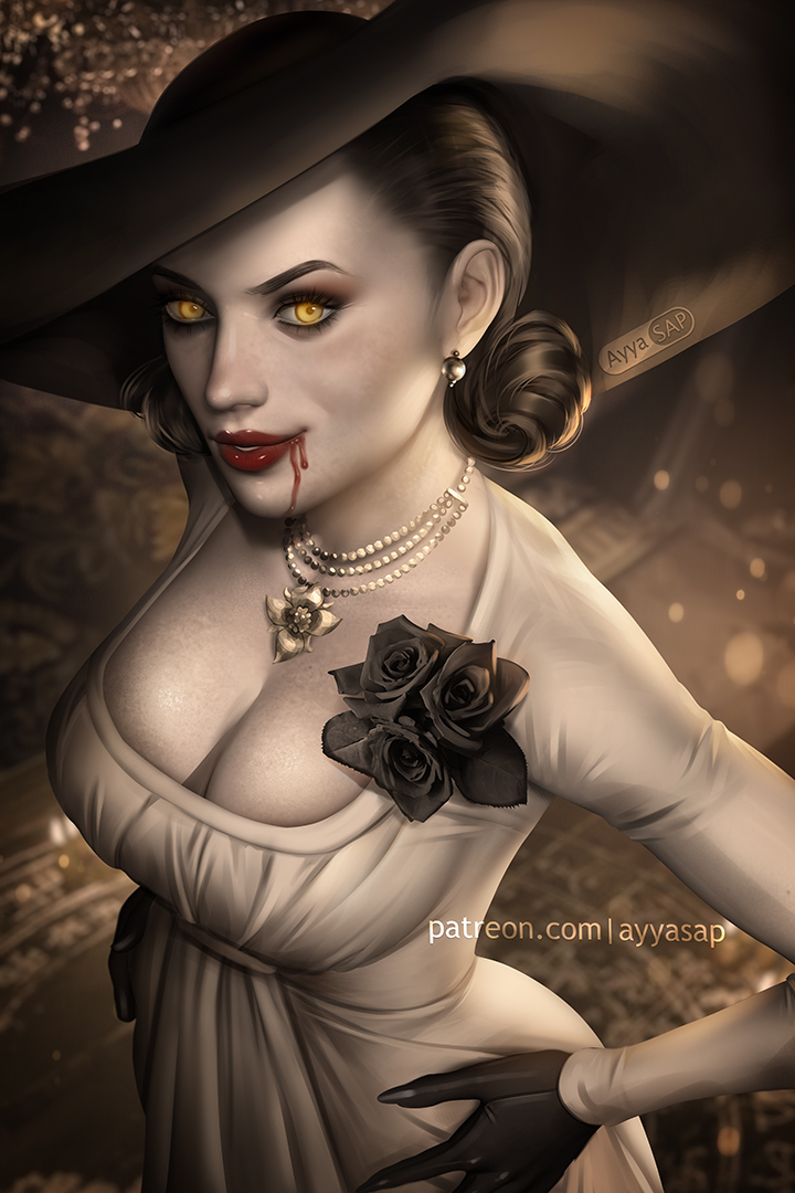 FANTASY GIRLS   Adding a special mention to my #top10 girls of #videogames   #LadyDimitrescu - #ResidentEvilVillage #art by @AyyaSAP  and #cosplay by @HellyValentine   @comicsandroses  @comicwaifus  @Iady_death