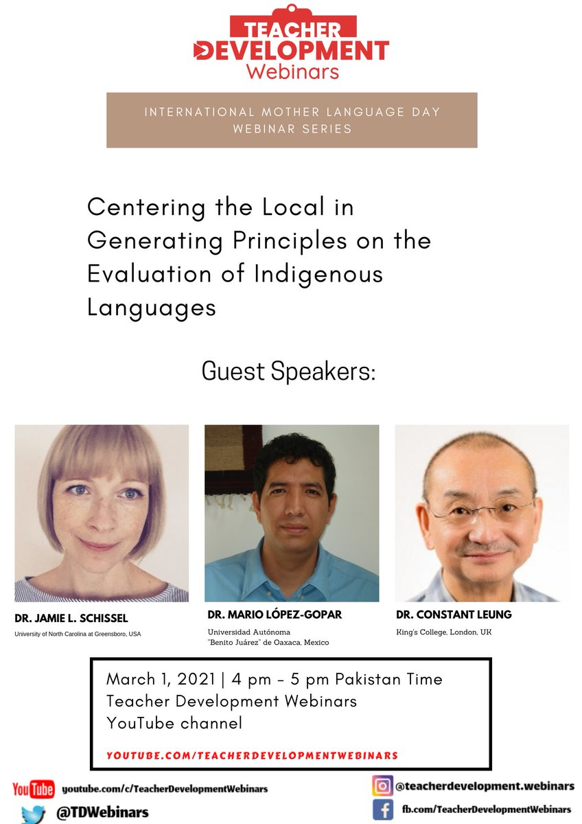 📆 1st March ⏰ 4pm-5pm Pakistan Time LIVE on @TDWebinars via @YouTube    To join us through Zoom, here's the link for registration:   @jlschissel #InternationalMotherLanguageDay #WEBINAR #IndigenousLanguages #Assessment #Evaluation