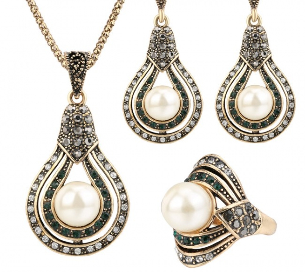 Women's Pearl Pear Earrings, Necklace and Ring Set #friends #cool