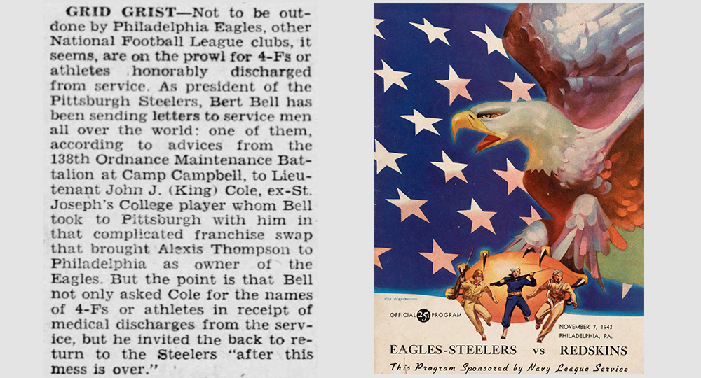 """#OTD in Steelers history 1944 the Philadelphia Inquirer highlighted the challenges facing #NFL teams during WW2 seeking players to field a team to compete. The reason Pittsburgh merged with the #Eagles the previous year. """"4-Fs"""" was a classification as unfit for military service."""