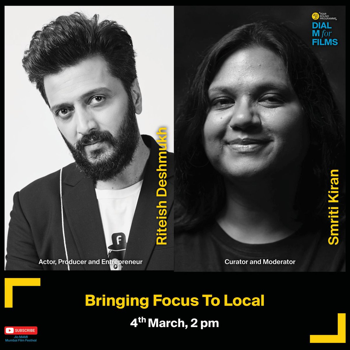 Actor @Riteishd turned producer w/ Balak Palak (2013). He has produced 6 Marathi films since then & is working on #NagrajManjule's trilogy on Chhatrapati Shivaji Maharaj. Catch him chat about bringing focus to local w/ @smritikiran on #DialMForFilms. Regr: