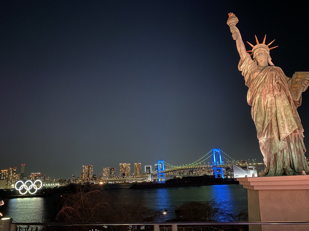 ✅Statue of Liberty 🗽  There is the Statue of Liberty in Tokyo 🗽😊  You can see the nice view of tokyo in Odaiba🙋🏻‍♀️  I recommend you to see the night view 🌃  #tokyo #nightview