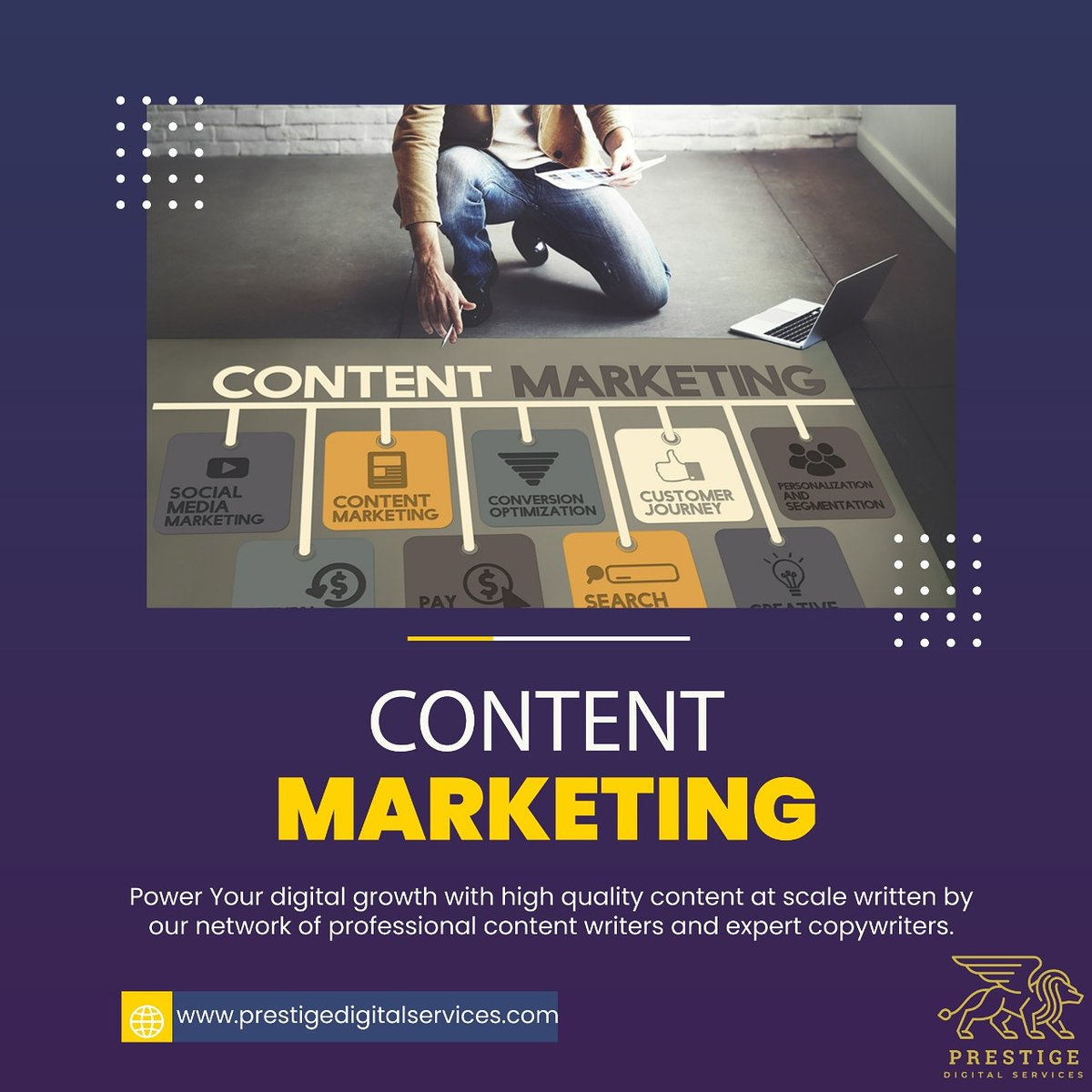 With our content marketing service packages, our team develops, writes, edits, and promotes custom content for your business. From blog posts to online guides to videos, you can do it all with Prestige Digital Services. #digitalservices #contentmarketing #digitalmarketingagency