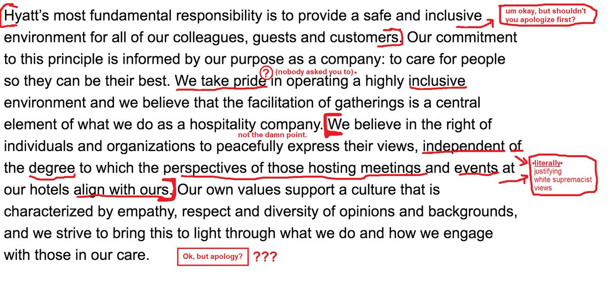 A breakdown of Hyatt's statement:  (So let me get this straight.. Hyatt is *inclusive* of white supremacists. Right?)