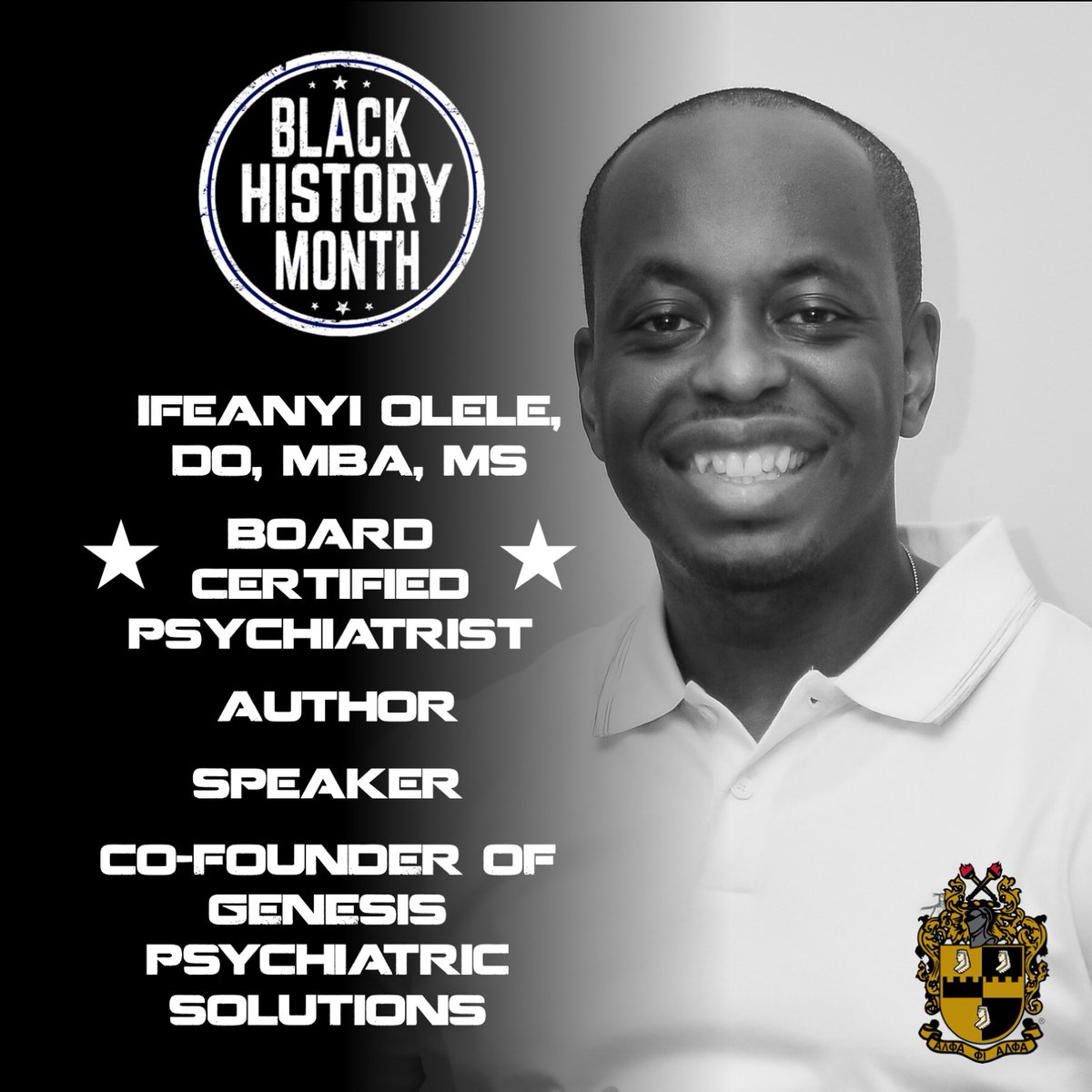 EVERY MONTH IS BLACK HISTORY MONTH.  Dr. Olele is an author, the CEO & co-founder of Genesis Psychiatric Solutions, & a board certified psychiatrist.  #mindset #mentalhealth #attitude #gpsmindset  #blackhistorymonth #blackhistory #anxiety #depression #adhd #alphaphialpha