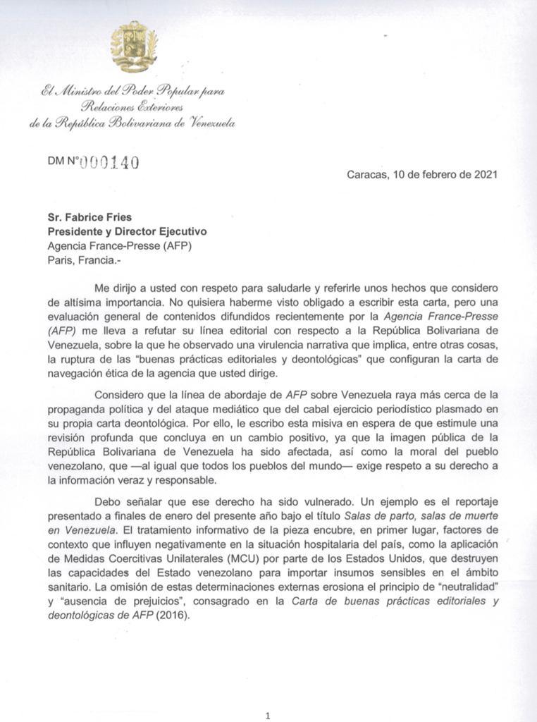 Comparto la carta envié el 10 de febrero al Director de @AFP, con observaciones a su línea editorial sobre Venezuela. Recibimos una respuesta seria y respetuosa en la que reconocen algunos hechos e indican que hablarán con su equipo para revisar el contraste de las informaciones.