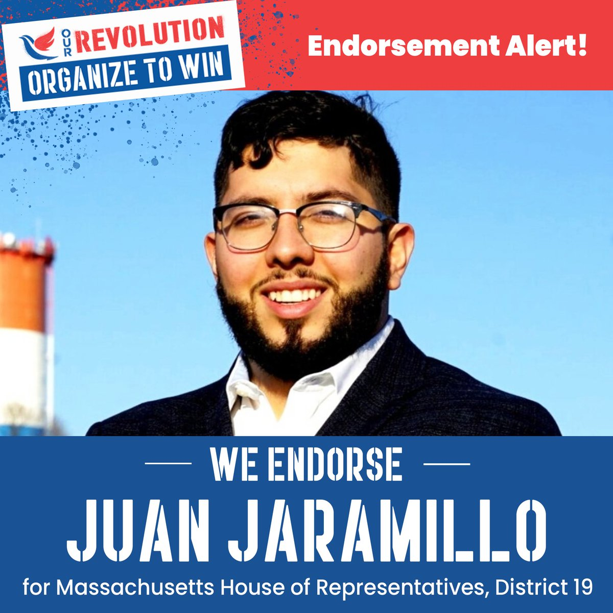 Election day is this Tuesday! Vote to elect @JuanForRep to the Massachusetts House of Representatives, District 19! He is fighting to hold polluters accountable & provide resources for mental health services, upgraded schools and affordable housing. #OurRevolution