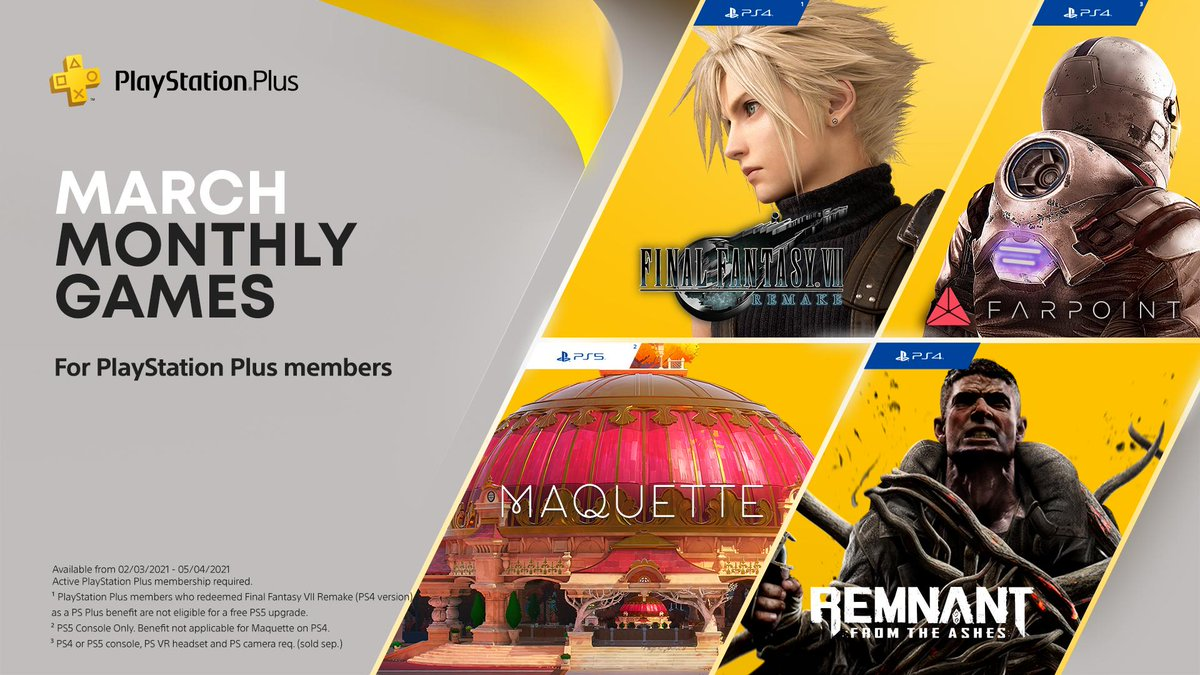 Explore Midgar in FFVII Remake, experience Escher-esque puzzles in Maquette and retake the world in Remnant: From the Ashes, your PlayStation Plus games for March: