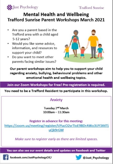 Trafford Sunrise are running free online child #mentalheath, #anxiety and #wellbeing workshops for parents of children aged between 5 and 16 years.   Tuesday's covers Anxiety for parents of children aged 5-12  More info/register: 👉  @Just_Psychology