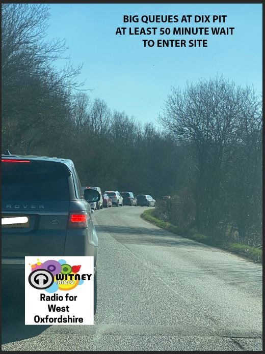 Traffic:  Several listeners have reported long delays to enter Dix Pit due to the volume of traffic visiting the site. One listener said it took 50 minutes to queue before entering.  #traffic #travel #witney #oxfordshire #stantonharcourt